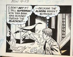 Original George Tuska Superman Daily Strip Signed By Tuska