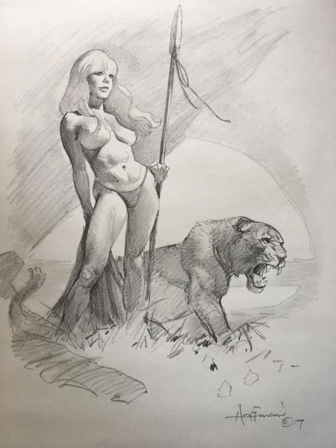 Original Hoffman Comic Art Illustration Art Cavewoman Jungle Girl Fantasy Pinup