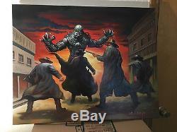 Original Oil On Canvas Ken Kelly Art Painting Huge 30X24 Western Robot Fantasy