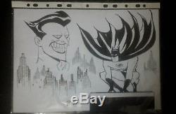 Original art BATMAN vs JOKER sketch art by Bruce Timm -rare 8.6x11.7 collect
