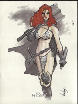 Original, art, mario chavez, pinup, comic book, 9x12 red sonja