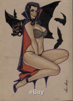 Original, art, mario chavez, pinup, comic book, 9x12 vampire, vampirella