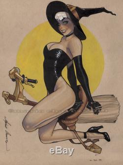 Original, art, mario chavez, pinup, comic book, 9x12 witch