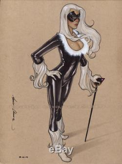 Original, art, mario chavez, pinup, comic book, 9x12blackcat, felicia hardy