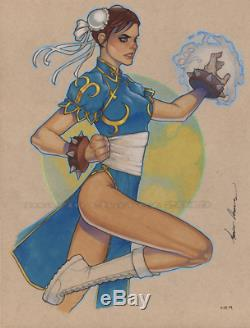 Original, art, mario chavez, pinup, comic book, 9x12chun-li, street fighter