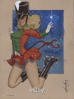 Original, art, mario chavez, pinup, comic book, 9x12elf, nutcracker