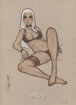 Original, art, mario chavez, pinup, comic book, 9x12felicia hardy, blackcat