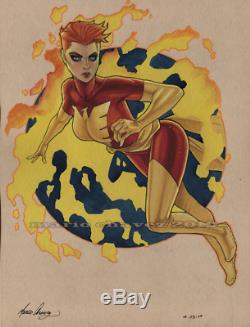 Original, art, mario chavez, pinup, comic book, 9x12phoenix, rachel summers