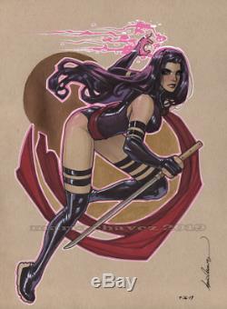 Original, art, mario chavez, pinup, comic book, 9x12psylocke