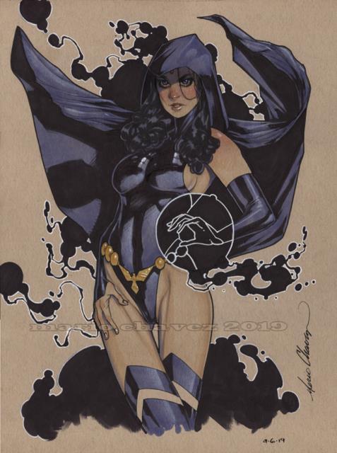 Original, Art, Mario Chavez, Pinup, Comic Book, 9x12raven, Teen Titans