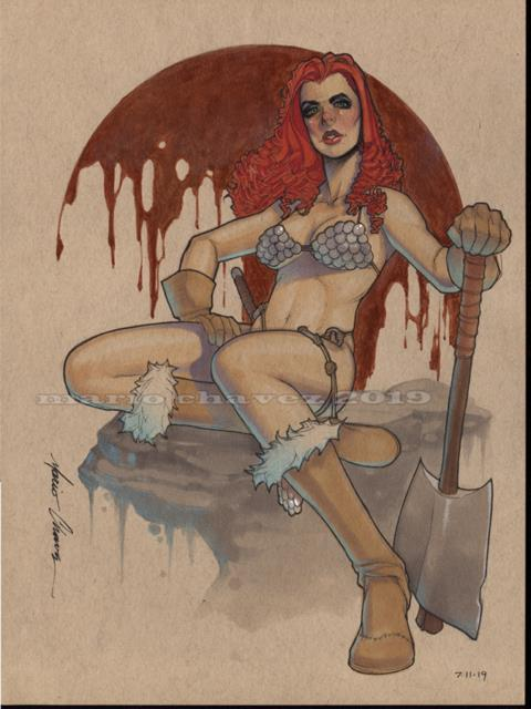 Original, Art, Mario Chavez, Pinup, Comic Book, 9x12red Sonja
