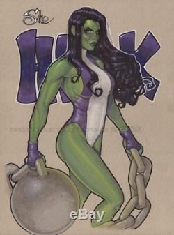 Original, art, mario chavez, pinup, comic book, 9x12she hulk