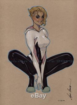 Original, art, mario chavez, pinup, comic book, 9x12spider gwen, gwen stacey