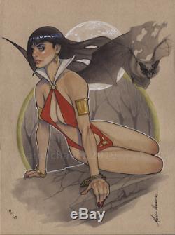 Original, art, mario chavez, pinup, comic book, 9x12vampire, vampirella