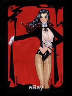 Original, art, mario chavez, pinup, comic book, 9x12zatanna