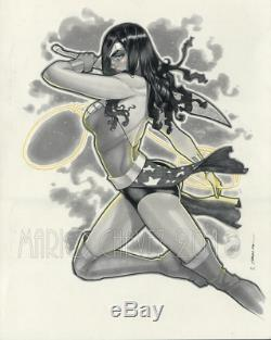 Original, art, mario chavez, pinup, comics, 11x14 inch, WONDERWOMAN, sexy