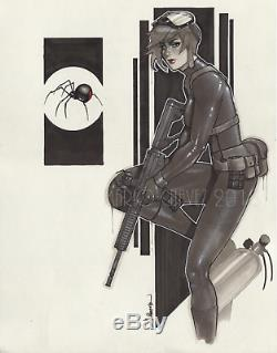 Original, art, mario chavez, pinup, comics, 11x14 inch, blackwidow, black widow