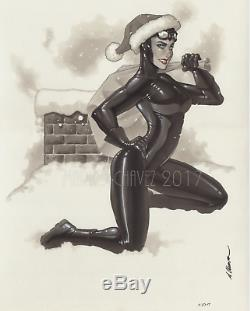 Original, art, mario chavez, pinup, comics, 11x14 inch, catwoman, selina kyle, christmas