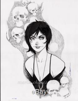 Original, art, mario chavez, pinup, comics, 11x14 inch, death, sandman