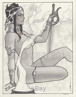 Original, art, mario chavez, pinup, comics, 11x14 inch, dejah thoris, mars, princess