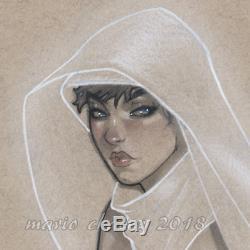 Original, art, mario chavez, pinup, comics, 11x14 inch, ghost