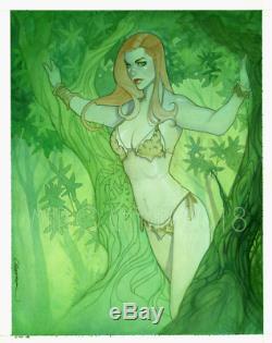 Original, art, mario chavez, pinup, comics, 11x14 inch, poison ivy, shanna, jane, jungle