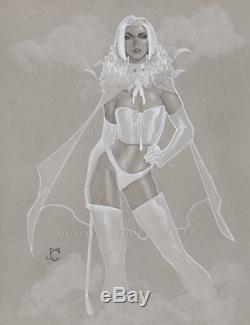 Original, art, mario chavez, pinup, comics, 11x14 inch, sexy, emma frost, white queen