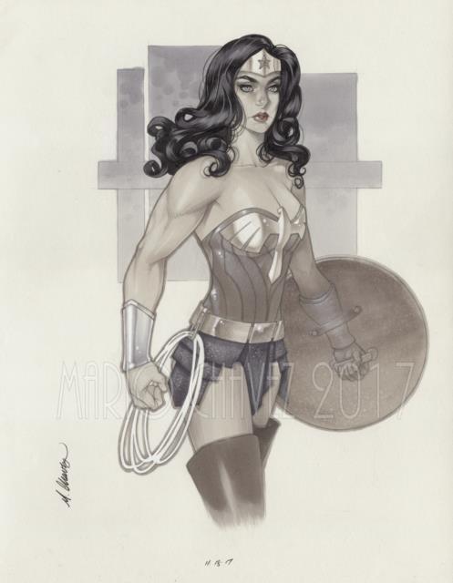 Original, Art, Mario Chavez, Pinup, Comics, 11x14 Inch, Wonder Woman, Justice League