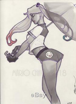 Original, art, mario chavez, pinup, comics, 9x12 inch, harleyquinn
