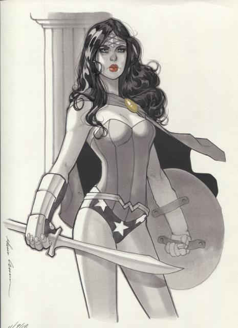 Original, Art, Mario Chavez, Pinup, Comics, 9x12 Inch, Selene, Sexy, Wonderwoman
