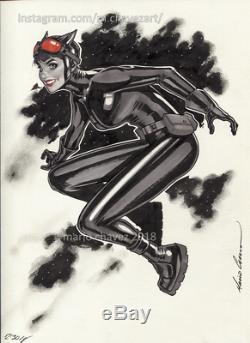 Original, art, mario chavez, pinup, comics, 9x12 inch, sexy, catwoman
