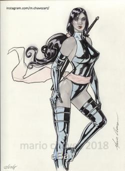 Original, art, mario chavez, pinup, comics, 9x12 inch, sexy, psylocke