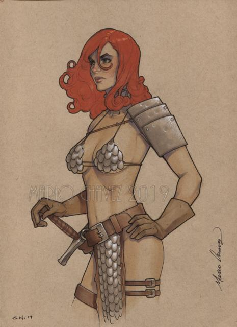Original, Art, Mario Chavez, Pinup, Comics, 9x12 Inch, Sexy, Red Sonja