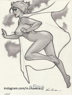Original, art, mario chavez, pinup, comics, 9x12 inch, super, powergirl, sexy