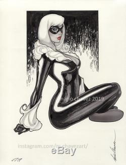 Original, art, mario chavez, pinup, comics, 9x12 inch, super, sexy, blackcat