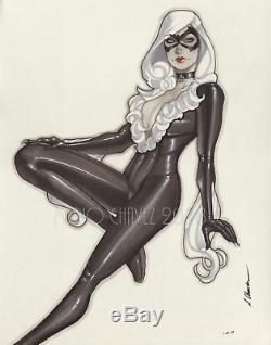 Original, art, mario chavez, sketch, drawing, comics, 11x14 inch. Blackcat, felicia