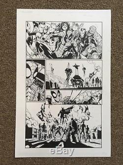 Original inked art! Amazing spider-man! Humberto Ramos! Eric Lebow! 11X17 Marvel