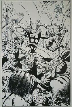 Paul Smith Thor Vs. Loki and the Trolls original art from 2002. 11 X 17