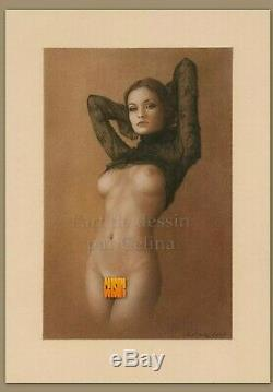 Pinup Girl Vampire Carmilla Vampirella Nude Fantasy Original art drawing Pastel