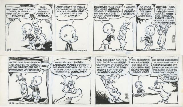 Pogo By Walt Kelly Two Original Daily Comic Strips 3/1 And 3/2, 1966