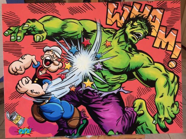 Popeye Vs. The Hulk Funny Cartoon Marvel Painting Papa Pop Art Gallery