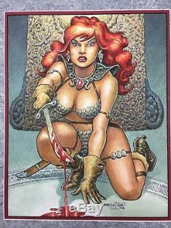 RARE! Conan Artist ERNIE CHAN Original RED SONJA Art Full Color Ink/Marker 2006