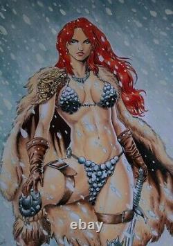 Red Sonja (11x17) original and unique 1/1 comic art by Eddie Fernandes
