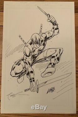 Rob Liefeld original Signed art Deadpool 11 X 17