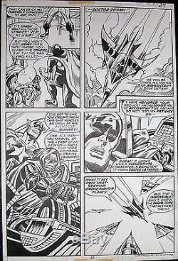 Super-villain Team-up #10 Original Art Captain America & Dr. Doom 1977 Bob Hall