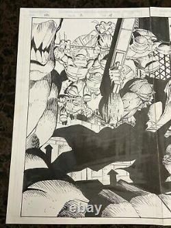Savage Dragon #2 withTMNT Erik Larsen ORIGINAL ART! 2-page (4,5) spread withTurtles