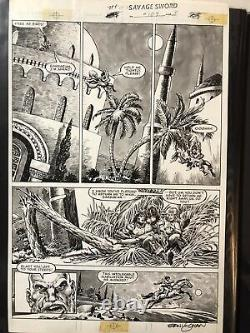 Savage Sword of Conan, #109 pg 31, signed by Ernie Chan, gorgeous gauche