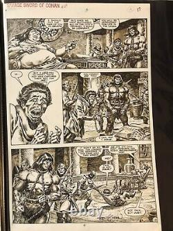 Savage Sword of Conan, #164 pg 17, signed by Ernie Chan, Conan in chains