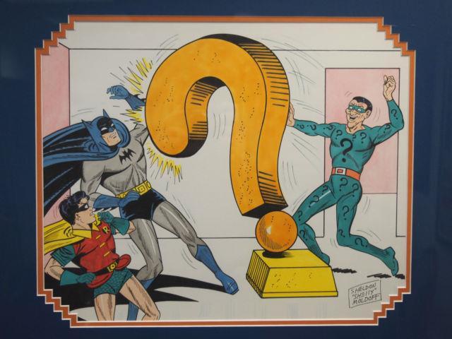 Shelly Moldoff Original Art Pen & Ink. Batman, Robin, Riddler! Beautiful