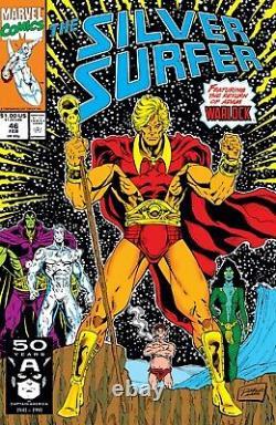 Silver Surfer #46 Original comic art by Ron Lim, p19, 1987. Drax! Gamora! Pip